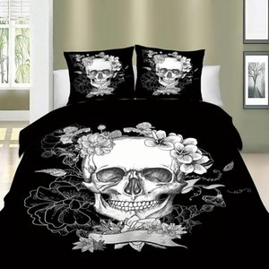 3D Skull Floral Bedding Sets Duvet Cover Queen King Size 3PCS Blanket