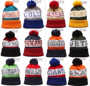 2020 Football Ville Pom Bonnet premium brodé Patch hiver doux épais Bonnet Skully Chapeau d'hiver en tricot Sideline Casquettes