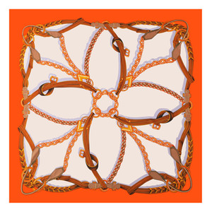 Pobing Pure Silk Scarf Женщины Большие Шали Спильки STOLE CHEAL PRINT Квадратные шарвы ECHARPES FOMME WRAP BANDANAS 130 * 130см