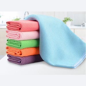 New 3Pcs Pack 30 x 40cm Soft Microfiber Cleaning Towel Kitchen Absorbable Glass Window Cleaning Cloth Car Dish Towel Dust Clean T200612