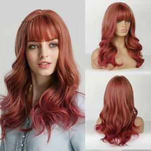 Ombre Red Synthetic Wigs with Bangs Body Wave Anime Cosplay Party Wigs for Women
