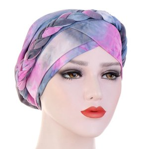 Women Boho Pre-Tied Turban Hat Twisted Braided Hair Cover Wrap Muslim Gradient Tie-Dye Print Hair Loss Chemo Cap C6UD