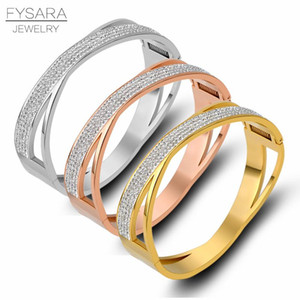 FYSARA Шарм ювелирных изделий Полный CZ Кристаллы Hollow X Cross Браслет браслеты для женщин Punk Широкий манжета браслеты оптовой продажи ювелирных изделий