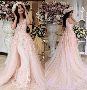 Coral Pink 2020 Lace Prom Dresses Overskirts 3D Floral Formal Evening Gowns V Neck Zip Back Detachable Skirt Girls Brithday Party Dress