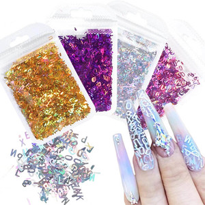 Holographic Alphabet Nails Glitter Flakes 3D Mixed Letter Number Nail Art Decorations Shiny Laser Paillette Manicure CHDZS01-06