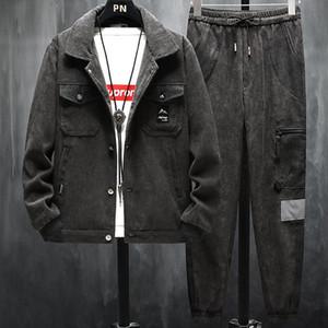 Весна осень новых людей Вельвет куртки Брюки Костюмы Мужской Bomber Jacket Повседневный рабочий Outwear пальто зима 2 шт Tracksuit Set