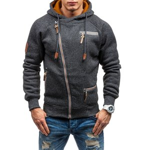 Male Clothing Autumn Winter Mens Hooded Casual Hoodies Solid Color Sport Plus Size Zipper Cardgian Coat