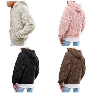 Fashion Men Fleece Hoodies Long Sleeve Hooded Sweatshirt Double-faced Pile Pullover Autumn Winter Outdoors Sportswear Warm Clothes Top