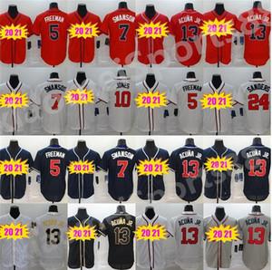 NEW 2020 ATLANTA мужчины женщин детей 13 Ronald Acuna Jr Jersey 5 Freddie Freeman 7 Dansby Swanson 24 Deion Sanders бейсбол Джерси