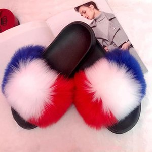 New Women Fur Slippers Fashion Luxury Real Fur Beach Sandal Shoes Fluffy Comfy Furry Flip FlopsMore Customed 2020