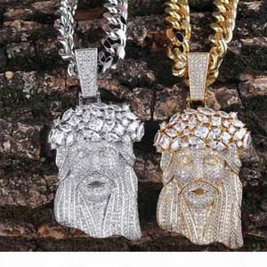 Jesus Piece Pendant Mens Jewelry Hip Hop Luxury Designer Bling Diamond Iced Out Pendant Cuban Link Chain Rapper Gold Silver Men Accessories