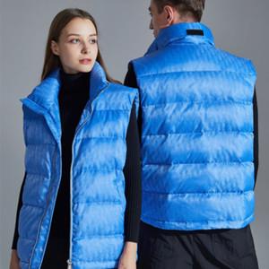 20FW جاكار أسفل الصدرية الكامل شعار الطبعة أبلى دافئ أسفل معطف أزياء ذات جودة عالية زوجين النساء الرجال سترات واقية HFXHMJ008