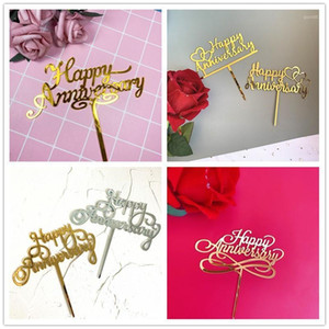 High Quality Acrylic Happy Aniniversary Cake Topper Bride and Groom Party Supplies Wedding Cake Decorating Wedding Decoration1