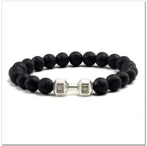 Borda i braccialetti di lava vulcanica del nero del braccialetto per i braccialetti di Mens delle donne degli uomini Bilanciere Fitness Gioielli