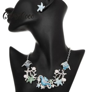 Cring Coco 2020 Design Creative Design Marin Life Cukink pour Femme Blue Enamel Collier à la mode Fish Starfish Starfish Sahorse Chaîne Colliers