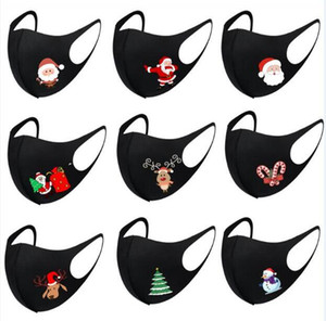 2021 Moda Mascarillas de Navidad impresas Mascarillas de Navidad Anti polvo Copo de nieve Cubierta de la boca de Navidad Lavable DHL MK89