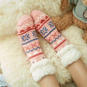 Kadın \ 'ın Kış Sıcak Yumuşak Rahat Bulanık Fleece Silikon Grippers ile Noel Terlik Çorap Çizgili
