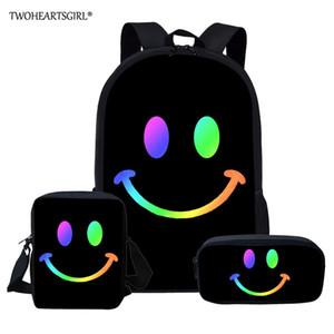 Twoheartsgirl Smiley Face Custom Bags for Boys Girls Student Children School Backpack Satchel Kids Book Bag mochila Q1109