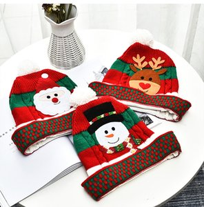 Christmas Santa Hats Christmas Knitted Hat Warm Winter Children Xmas Deer Snowman Beanie Cap Crochet Pompom Hats Outdoor Baby