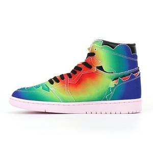 J Balvin 1s Yüksek OG Erkekler Basketbol Ayakkabı Jumpman 1 Renkler Y Vibras Kravat Boya Çok Renkli Gökkuşağı Kadın Eğitmenler Sneakers Size36-47.5