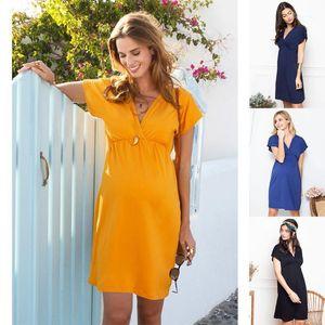 2020 Yeni Emzirme Giysi Annelik Elbiseler Derin V Yaka Kısa Kollu Hemşirelik Elbiseleri Analık Elbise Gebelik Elbise Q06031