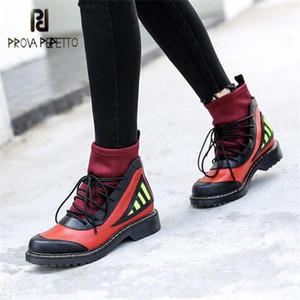 Prova Perfetto Mischfarbe Knöchelstiefel Für Frauen Stretch Stoff Socke Booties Lace Up Botas Mujer Plattform Reitstiefel1