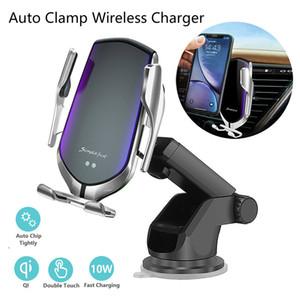 Automatique 10W Qi voiture Clamping chargeur sans fil pour l'iPhone 11 Pro X Xs MAX infrarouge à induction rapide support de chargeur Support de téléphone de voiture