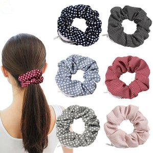 Designer Headbands Velvet Women Scrunchies Hairband Large Intestine Hair Band Girls Zipper Pocket Wallet Coin Purse Key Holder 20pcs D6052