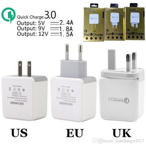 Qc3.0 rápido Quick Charge carregador de parede US UK Eu Power Plug Adapter Para Samsung Galaxy S8 nota s10 10 Phone HTC android pc