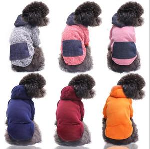 Pet Köpek Hoodie Köpekler Giysi Giyim Kedi Giyim Sonbahar Kış Tulum Cep Spor Giyim Yavru Coat Pet Kıyafet Deniz Gemi DHC4905