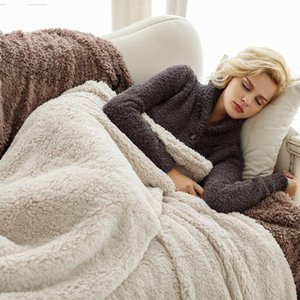 2 Sizes Lamb Cashmere Throw Blanket Warm Soft Blankets for Beds Fluffy Fuzzy Fur Blanket Solid Thick Office Home Towel
