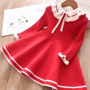 Noël filles robe de tricot rouge automne hiver enfants arc à volants chevreup tricoter robe à manches longues enfants pull robe plissée A5054