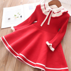 Xmas Girls Red knitting dress Autumn Winter Children Bow Ruffle Lapel knitting long sleeve dress kids sweater pleated dress A5054