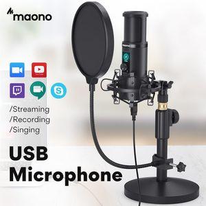 Maoño AU-PM421T USB micrófono de condensador profesional Estudio Transmisión en vivo de micrófono para PC portátil con un solo toque de silencio y Ganancia Perilla