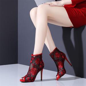 Kadınlar El yapımı lüks Tasarımcı Yüksek Topuklar Delikli Nakış Net Boots Kadın Mesh Patik Ayakkabı için NORBERG Yaz Bilek Boots
