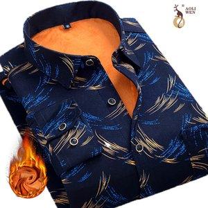 Aoliwen Men's winter Lining wool warm shirt flannel milk silk long sleeve men thicken casual fashion plaid shirt slim fit 201021