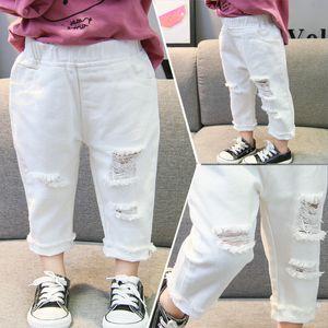 Enfants Broken Hole Jeans Spring Fashion Toddler Vêtements Enfants Année Pantalon Denim Pantalons pour Garçons Filles
