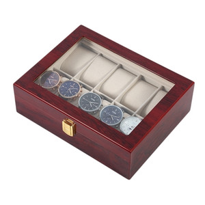10 Griglie Retro Red Wooden Wooden Guarnizione Display Caso Durable Packaging Holder Collezione Gioielli Storage Watch Organizer Box Casket T200523