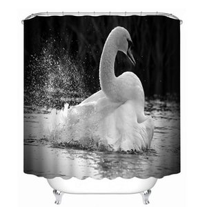 3d Shower Curtains Beautiful White Swan Animal Pattern Waterproof Bathroom Curtains Thickened Fabrics Bath With Hooks