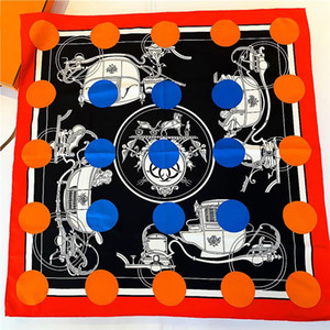 The new 90cm pure handmade curling polka dot royal carriage female twill square scarf shawl moda praia feminina Beach Towel