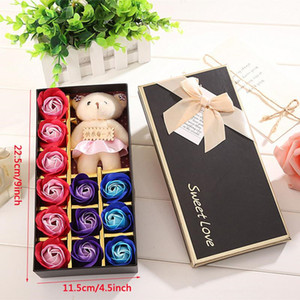 Creative Gold Rose Artificial Rose Soap Flower Romantic Rose Soap Flower With Bear Doll Mother's Day Valentine Day Birthday Gift PPB4238