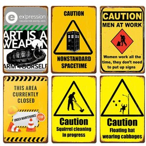 Attention Caution No Running Public Warning Beware of Animal Metal Tin Sign Sign Wall Bar Cafe Restaurant Home Art Painting Metal Plate Sign