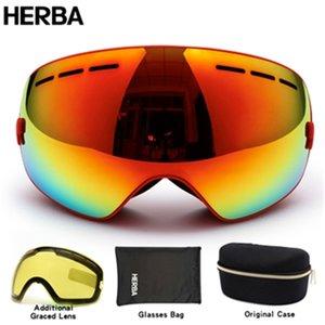 New HERBA brand ski goggles double UV400 anti-fog big ski mask glasses skiing men women snow snowboard goggles HB3-3 Q0107