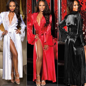 1PC Женщины дамы секси длинный шелковый Кимоно халат банный халат Nightgowns Sleepshirts Nightdress Хлопок 3 Clour