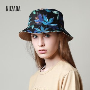 NUZADA Brand Printing Men Women Fisherman Hats Couple Bucket Hat Summer Autumn Spring Shade Cotton Caps Double Sided Can Be Worn