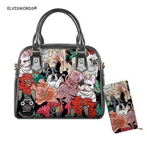 ELVISWORDS HandbagsWallet Conjunto perro de la flor impresión de las mujeres Top-asa de la bolsa de la playa para señoras Totes bolso femenino colorido del hombro del barro amasado