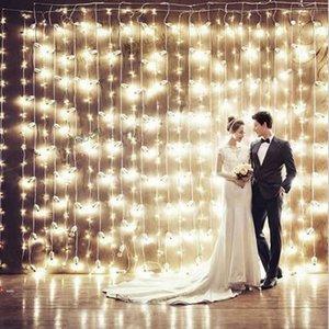 3 * 3Meter قطاع 300leds الستار LED أضواء سلسلة السنة الجديدة عيد الميلاد أكاليل حزب الجنية حديقة مناسبات الزفاف الخيالية 4 ألوان VR 201023