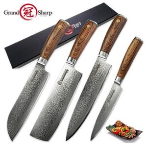 Grandsharp 4 ADET Şam Bıçak Seti 67 Katmanlar VG10 Japon Şam Çelik Şef Santoku Nakiri Yardımcı Şam Mutfak Bıçakları