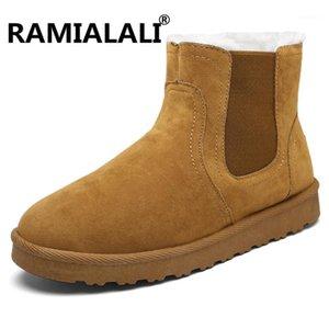 Ramialali зимние мужчины снежные ботинки теплые меховые плюшевые внутри антисхид нижних мужчин обувь вскользь теплые ботильоны высокого качества