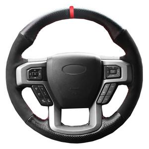 DIY рулевого управления автомобиля крышка колеса черный замша для Ford F150 F150 King Ranch Lariat Платина XL XLT 2015 2016 2017 Волант